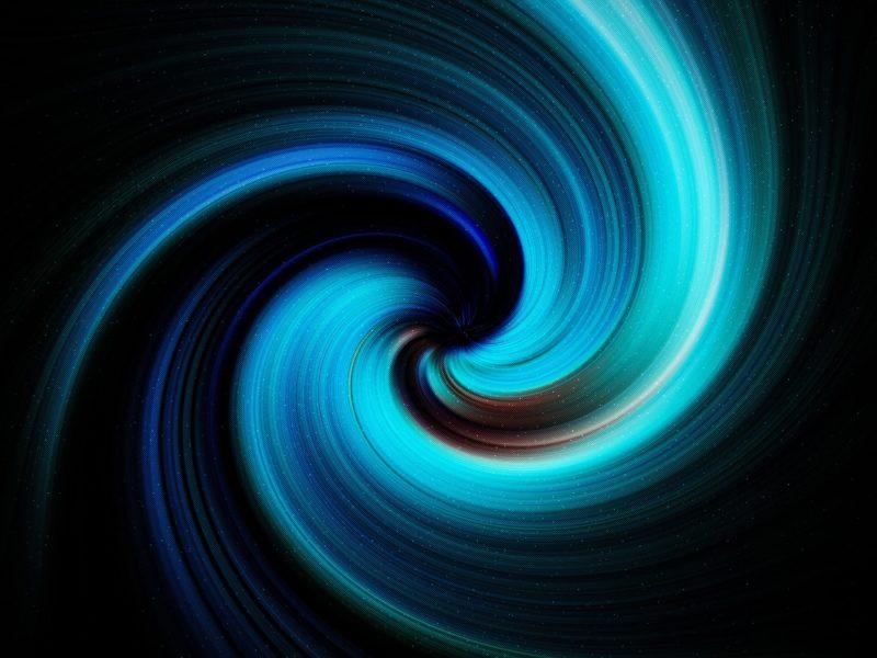 Неоновая спираль на черном фоне