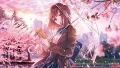 Девушка аниме с книгой и зонтом в руке