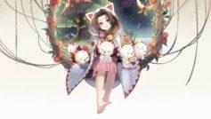 Милая девушка аниме с котятами на белом фоне