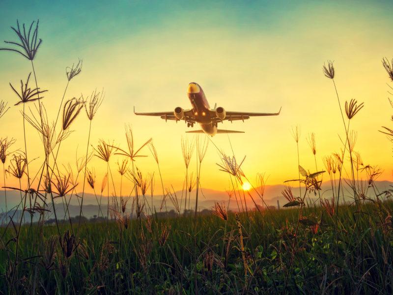 Большой пассажирский самолет взлетает над полем на рассвете