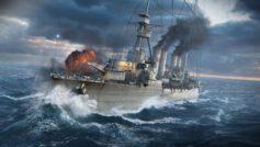 Военный линкор в море во время шторма