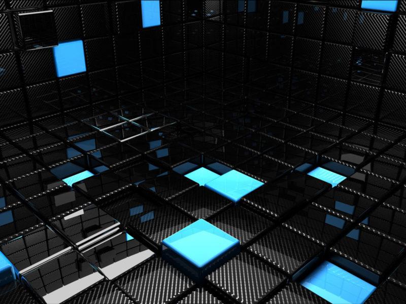 3D вид (3д), Абстракции, Синий, Черный цвет, Темнота, Кубики, Отражения