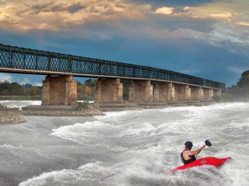 Обои река, мост, рафтинг, речной, фотошоп на рабочий стол.
