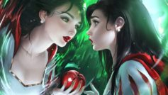Обои snow White, disney, anime, tale, childish story, apple, mirror, reflection, anime girl, magic mirror на рабочий стол.