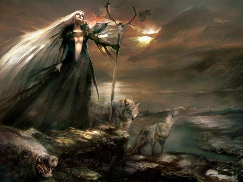 Обои фэнтези, маг, волшебник, девушка, посох, тучи, волки, кабан, скалы на рабочий стол.