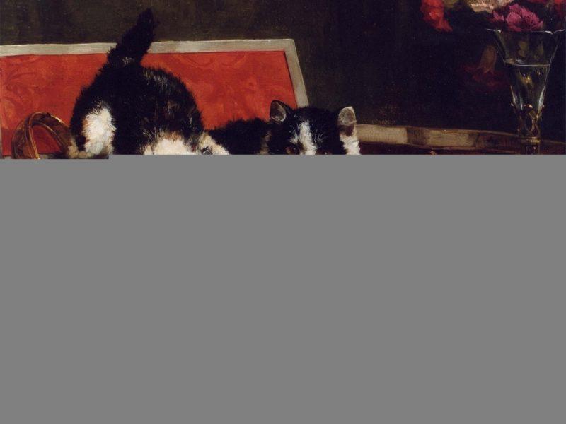 котята, three, Painting, kitten, шкатулка, трое, картина, краски