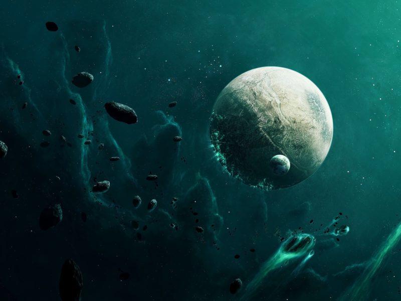 бомбардировка, планета, астероиды, Космос