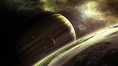 planets, different sizes, moon, Sci fi, different colors, stars,