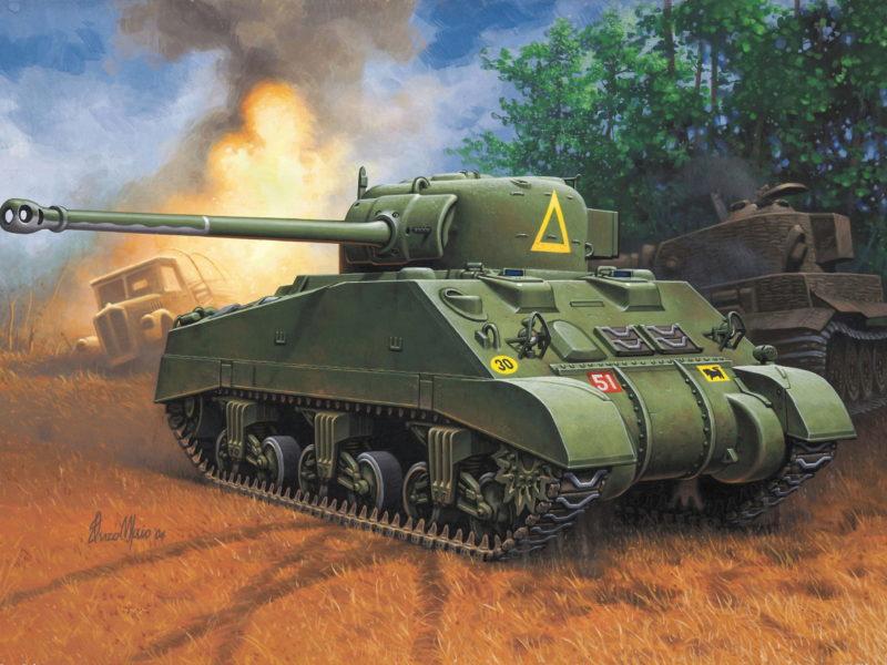 vc, Арт, поле, танк, sherman, firefly, бой, орудие, 17-фунтовое