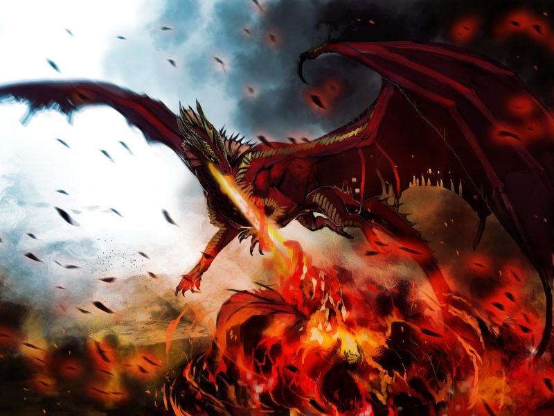 Арт, монстр, hellfyre, крылья, дракон, пламя, огонь, dragon
