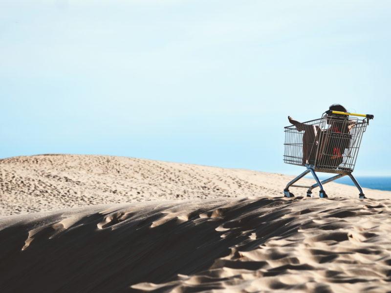 девушка, коляска, ситуация, Lost in the sands