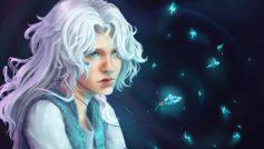фэнтези, кристаллы, белые волосы, Арт, кулон, девушка
