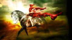 ветер, плащ, всадник, обои, тучи, конь, небо, свет, Лошадь