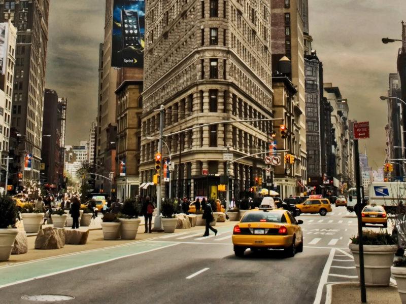 Города, Желтый цвет, Здания, Нью-Йорк, Фуллер Строительство
