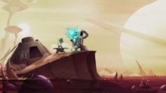 Астронавт с роботом на неизвестной планете в космосе