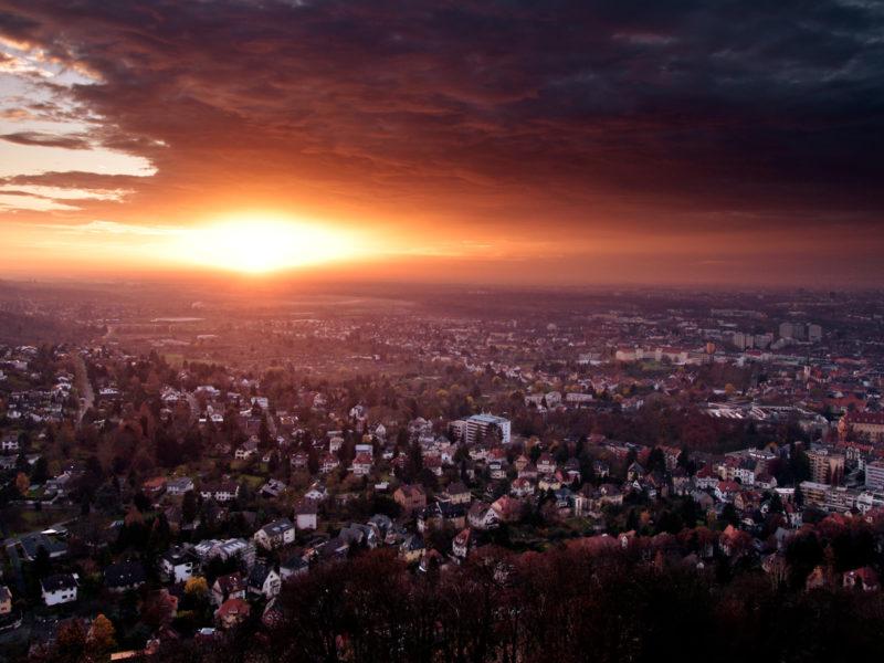 Закат, Облака, Пейзажи, Города, Германия, Архитектура, Дома, Здания