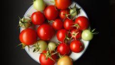 Обои томаты, тарелка, фон на рабочий стол.