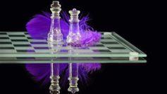 Обои шахматы, шахматная доска, перо, отражение, чёрный, фон, фигур на рабочий стол.
