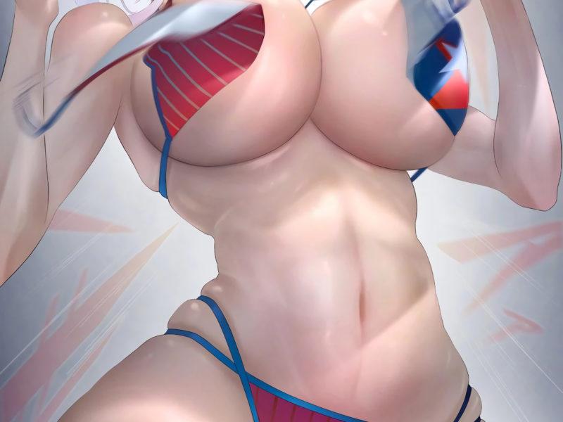 Обои Summer Musashi, game girl, anime girl, swimwear, boobs, beach, blue eyes, red bikini, bikini, boobs на рабочий стол.