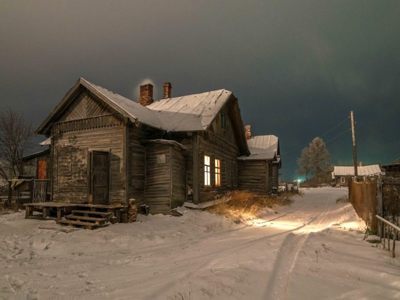 Обои ночь, деревня, дома для рабочего стола