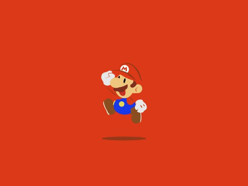 Маленький Марио на красном фоне