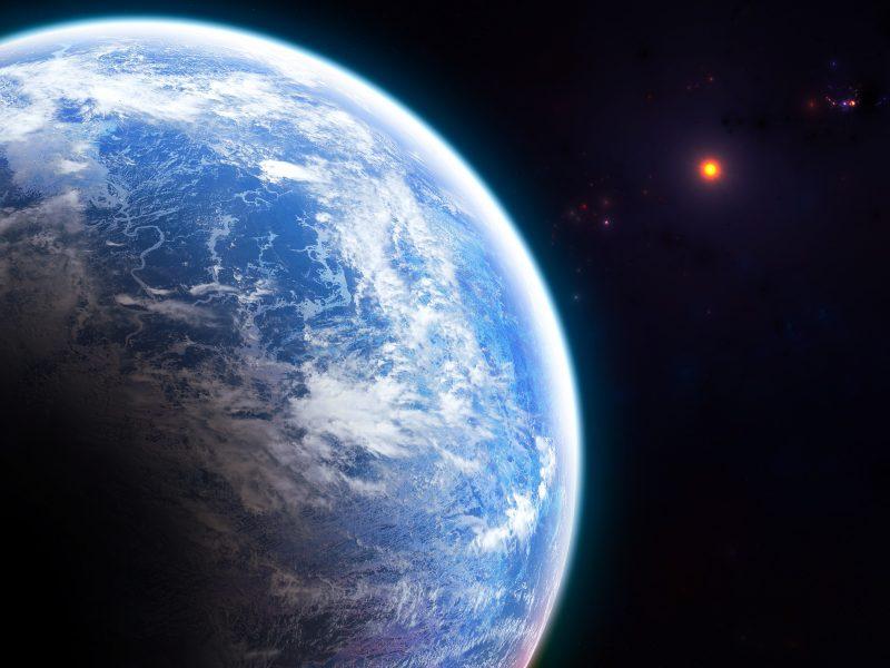 Вид на огромную голубую планету Земля из космоса