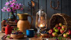 Обои еда, предметы, ягоды, яблоки, фонарь, ложка, кружка, огонь на рабочий стол.